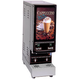 Hot Powder Cappuccino & Specialty Beverage Dispenser. Black, low to medium volume with (2) hoppers of 4 lbs. capacity each.