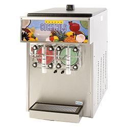 Frozen Beverage Dispenser. Barrel Freezer. Mechanical Control. Twin barrel, 0.75 hp, air-cooled, (2) 0.25 hp drive motors.