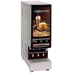 Hot Powder Cappuccino & Specialty Beverage Dispenser. Black, low to medium volume with (3) hoppers of 4 lbs. capacity each.