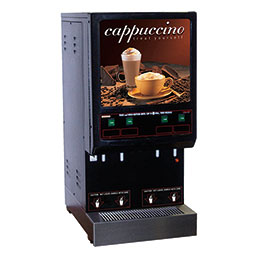 Hot Powder Cappuccino & Specialty Beverage Dispenser. Black, low to medium volume with (4) hoppers of 4 lbs. capacity each.