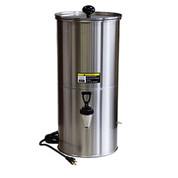 Portable Bulk Liquid Dispenser. 5 gallon bulk dispenser with heat lamp. Includes hard-surface bulb, thermostat, cord with plug, and on - off switch.