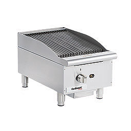 Gas Charbroiler. Cooking surface: 15 W x 20 D.  (1) burner, 3 & 6 wide grates.