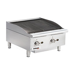 Gas Charbroiler. Cooking surface:24 W x 20 D. (2) burners, 6 wide grates.