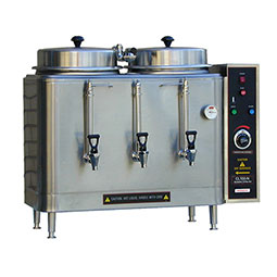 Twin 3 Gallon Urn. Adjustable  by-pass, push button agitator, electro-mechanical timer.