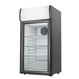 Countertop Refrigerator. Black, 2.7 cubic feet, (4) shelves. Includes lighted external merchandise  display.