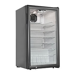 Countertop Refrigerator. Black, 3.8 cubic feet, (5) shelves.