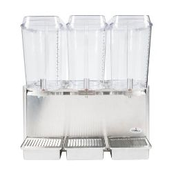 Crathco Classic Bubbler® Premix Cold Beverage Dispenser. (3) 5 gal. bowls. Stainless steel side panels and drip tray.