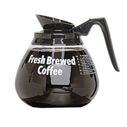 Coffee Decanter. 3-pack glass decanters with black handle.