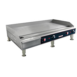 Medium Duty Electric Griddle. 2 heating elements, 1/2 griddle plate thickness.