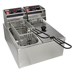 Countertop Electric Fryers. (2) 6 lbs. fry pots with (2) baskets.