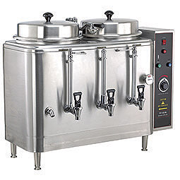 Twin 3 Gallon Urn. Adjustable by-pass, automatic agitator, solid state timer.