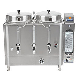 Twin 6 Gallon Urn. Adjustable by-pass, automatic agitator, solid state timer. 1 & 2 lbs. brew.