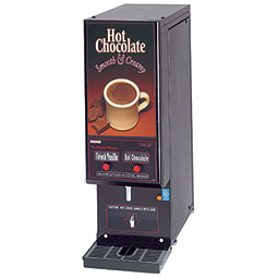 Powdered Hot Chocolate Dispenser. Black, medium volume with the smallest footprint available. (2) hoppers  with 4 lbs. capacity each.