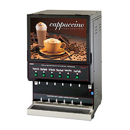 Hot Powder Cappuccino & Specialty Beverage Dispenser. Black, high volume. Hoppers and Capacity: (1) 10 lbs. and (5) 5 lbs.
