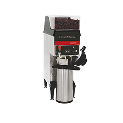 Grind'n Brew Coffee System. Single 2.2 L airpot brewer with single 5.5 lbs. bean hopper.