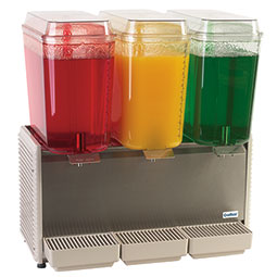 Crathco Classic Bubbler® Premix Cold Beverage Dispenser. (3) 5 gal. bowls. Plastic side panels and drip tray.