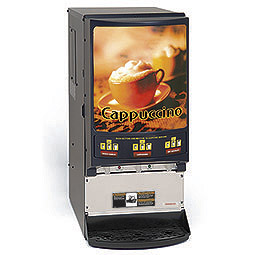 Hot Powder Cappuccino, Hot Chocolate, & Specialty Beverage Dispenser. 3 hoppers, 5 lbs. capacity. 3 Portion Sizes / Head