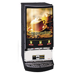 Hot Powder Cappuccino, Hot Chocolate, & Specialty Beverage Dispenser. 3 hoppers, 5 lbs. capacity.