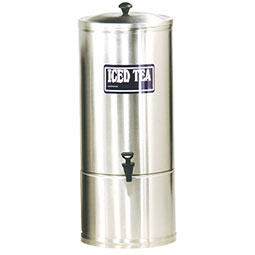 S Series Stainless Steel Iced Tea Dispenser. 10 gallon capacity, 9 faucet clearance.