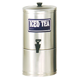 S Series Stainless Steel Iced Tea Dispenser. 2 gallon capacity, 7 faucet clearance.
