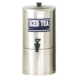 S Series Stainless Steel Iced Tea Dispenser. 3 gallon capacity, 7 faucet clearance.