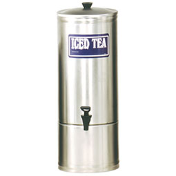 S Series Stainless Steel Iced Tea Dispenser. 5 gallon capacity, 7 faucet clearance.
