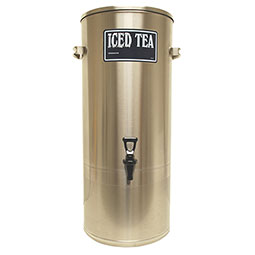S Series Stainless Steel Iced Tea Dispenser. 5 gallon capacity with handles, 7 faucet clearance.