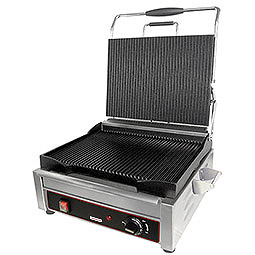 Sandwich or Panini Grill, Single, grooved, cast iron surface. Work surface: 9 5/8 W x 9 D.