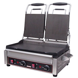 Sandwich or Panini Grill. Double, flat, cast iron surface. Work surface (per side): 7 1/4 W x 9 D.
