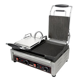 Sandwich or Panini Grill. Single, grooved, cast iron surface. Work surface: 14 1/8 W x 11 D.