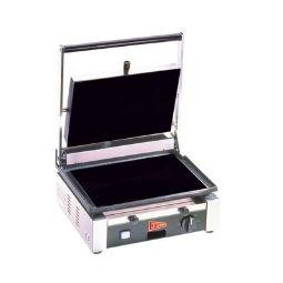 Medium Duty Sandwich or Panini Grill. Single, flat, cast iron surface. Work surface: 14.5 W x 10 D.