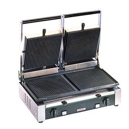 Medium Duty Sandwich or Panini Grill. Double, grooved, cast iron surface. Work surface: 19.75 W x 10 D.
