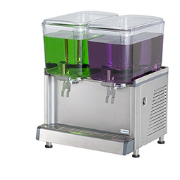 Simplicity Bubbler® Premix Cold Beverage Dispenser. (2) 4.75 gallon bowls, agitator model.