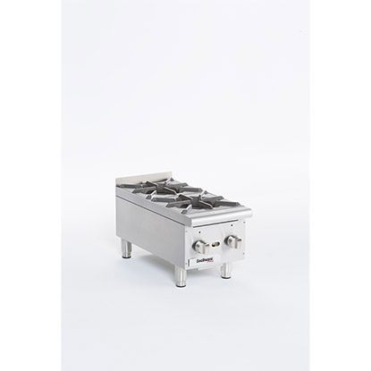 Gas Hot Plates. Cooking Surface: 12 W x 20 D, (2) burners.