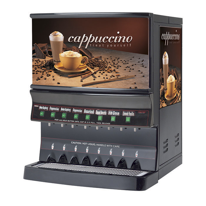 Hot Powder Cappuccino & Specialty Beverage Dispenser. Black, high volume with sleek, contemporary design. Hoppers and Capacity: (1) 10 lbs. and (7) 5 lbs.