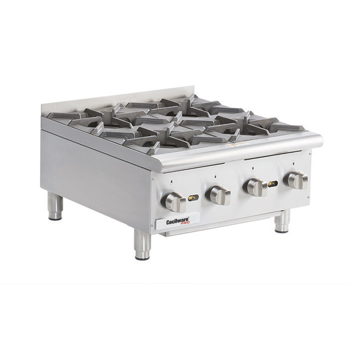 Gas Hot Plates. Cooking Surface: 24 W x 20 D, (4) burners.