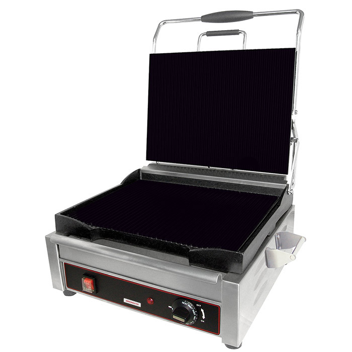 Sandwich or Panini Grill. Single, flat, cast iron surface. Work surface: 9 5/8 W x 9 D.
