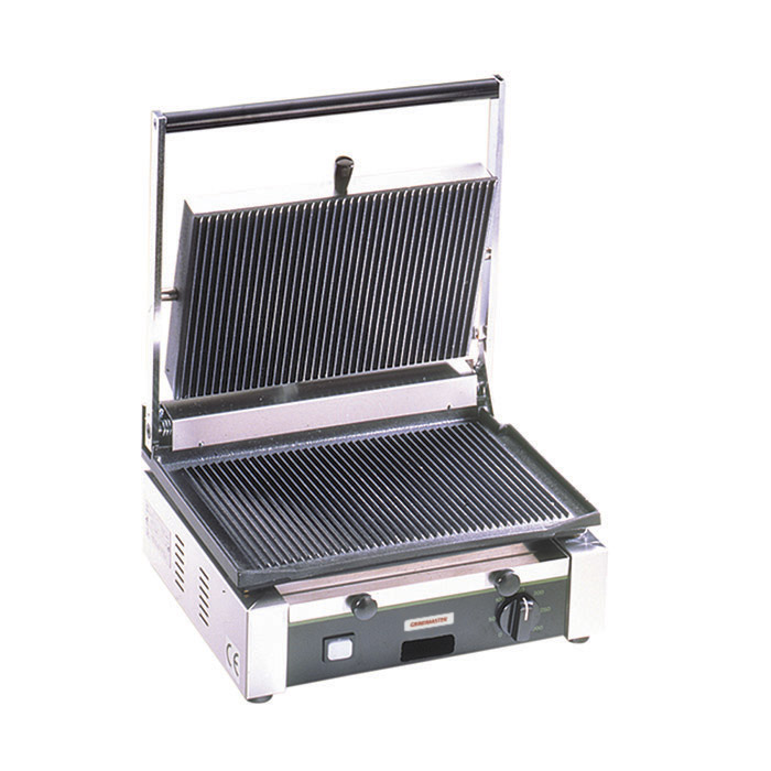 Medium Duty Sandwich or Panini Grill. Single, grooved, cast iron surface. Work surface: 14.5 W x 10 D.